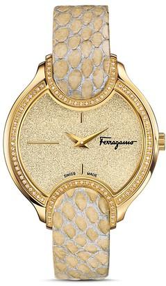 Salvatore Ferragamo Icon Watch with Diamonds, 38mm $3,895 thestylecure.com