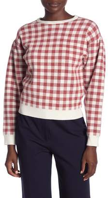 ENGLISH FACTORY Long Sleeve Checkered Knit Sweater