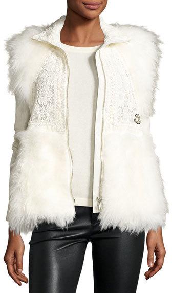 MonclerMoncler Fur-Trim Crocheted Lace Vest, White