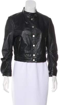 BCBGMAXAZRIA Leather Button-Up Jacket