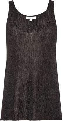 Reiss Lilian - Metallic Knitted V-neck Top in Charcoal