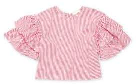 Soprano Girl's Striped Flutter Sleeve Top