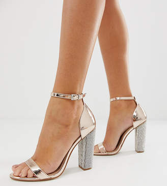 Barely There Asos Design ASOS DESIGN Highball block heeled sandals with diamante heel
