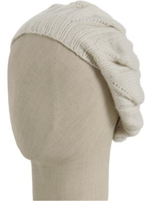 Kashmere ivory cashmere cable detail beret