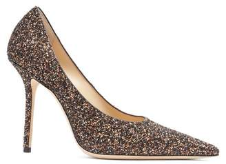 Jimmy Choo Ava 100 Glitter Covered Leather Pumps - Womens - Brown Multi