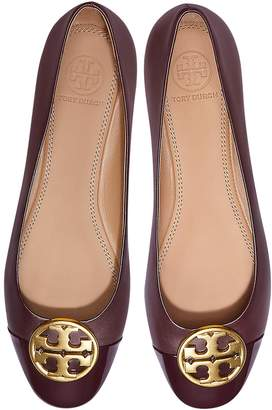 Tory Burch Burgundy Nappa & Patent Leather Chelsea Cap-toe Ballet Flats