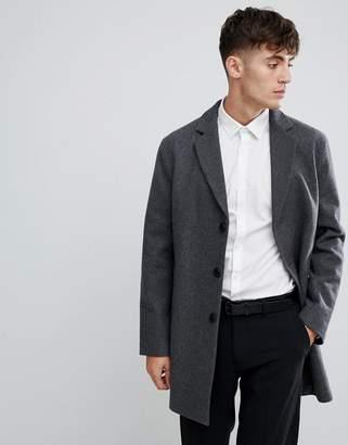 Esprit Smart Wool Overcoat In Gray Marl