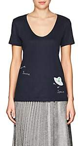 "Barneys New York HAAS BROTHERS XO Women's ""Gimme Some Space"" Pima Cotton T-Shirt - Navy"