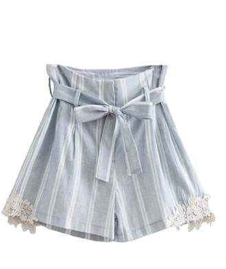 Goodnight Macaroon 'Angie' Linen Striped Paper Bag Shorts