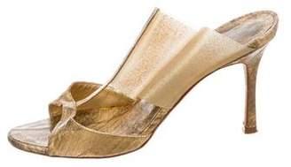 Manolo Blahnik Metallic Eel Skin Sandals