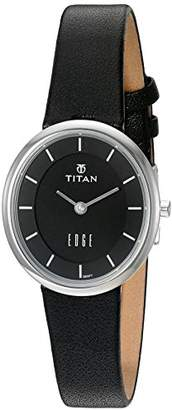 Titan Women's 'Edge' Quartz Stainless Steel and Leather Casual Watch