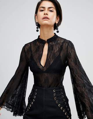 Forever Unique Lace Bodysuit With Fluted Sleeve