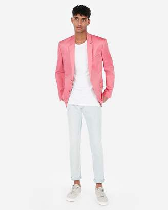 Express Extra Slim Bright Pink Cotton Oxford Stretch Suit Jacket