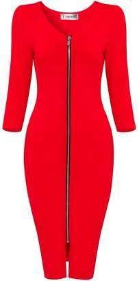 Toms Tom's Ware Womens Sophisticated Front Zipper Long Sleeve Bodycon Midi Dress TWCWD128--CA