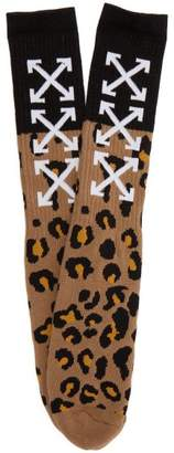 Off-white - Arrow Leopard Print Socks - Mens - Multi