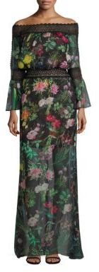 Tadashi Shoji Off-the-Shoulder Floral Printed Sheer Gown $528 thestylecure.com