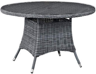 Modway Outdoor Summon 47In Round Outdoor Patio Wicker Rattan Dining Table