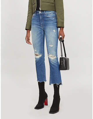 Mother The Insider Crop Step high-rise slim-fit jeans