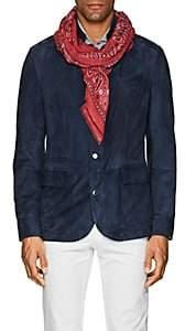 Barneys New York Men's Bandana-Motif Linen-Cotton Scarf-Red