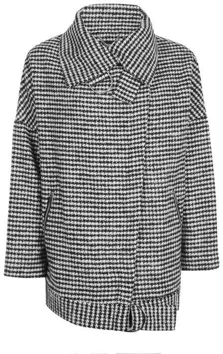 TopshopTopshop '80s funnel neck houndstooth coat