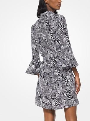 Michael Kors Zebra Print Crepe De Chine Dress