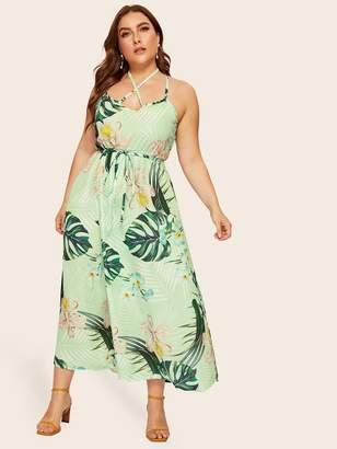 Shein Plus Tropical Print Open Back Cami Dress