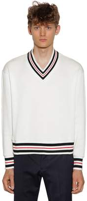 Thom Browne Over Knit V Neck Cotton Chunky Sweater
