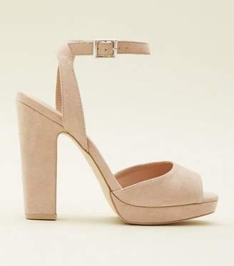 New Look Cream Suedette Square Peep Toe Platform Sandals