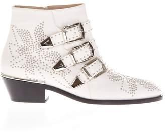 Chloé Susanna White Sheepskin Ankle Boots