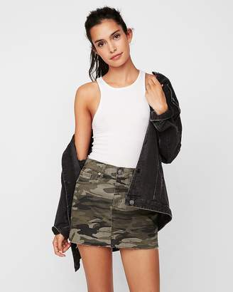 Express Mid Rise Camo Twill Mini Skirt