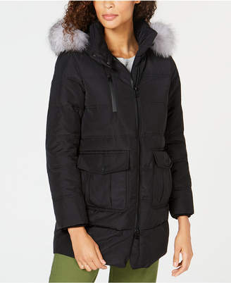 Andrew Marc Fox-Fur-Trim Hooded Down Parka