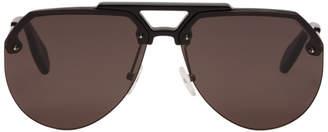 Alexander McQueen Black Stud Aviator Sunglasses