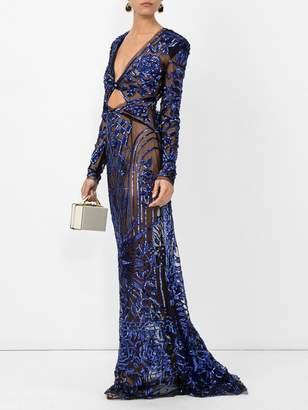Dundas Cobalt bugle bead art deco embellished dress