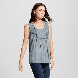 Knox Rose Women's Sleeveless Woven Tank with Lace Neck $22.99 thestylecure.com