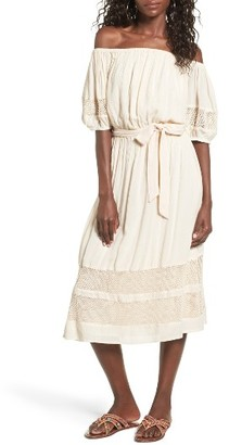 Women's Tularosa Marty Off The Shoulder Midi Dress $198 thestylecure.com
