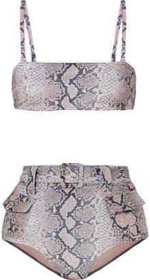 Zimmermann Corsage Safari Snake-print Belted Bikini - Snake print