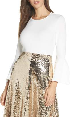 Eliza J Bell Cuff Jewel Neck Sweater