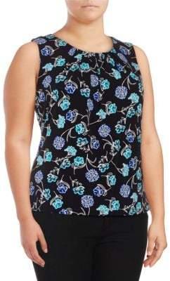 Calvin Klein Plus Floral Pleated Top