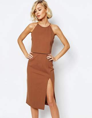 Lavish Alice High Neck Cropped Side Split Body-Conscious Midi Dress $94 thestylecure.com