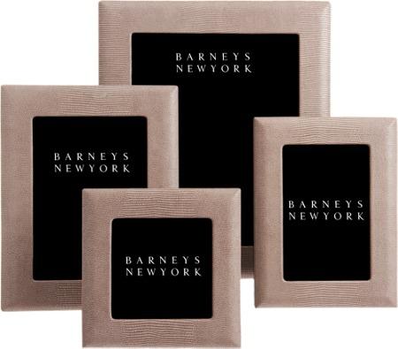 Barneys New York Brown Lizard Print Leather Frames