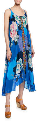 Johnny Was Kara Floral-Print Scoop-Neck Sleeveless Dress w/ Slip