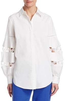 Lela Rose Wave-Trim Full-Sleeve Shirt