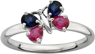 Stacks & Stones Sterling Silver Lab-Created Ruby & Lab-Created Sapphire Butterfly Stack Ring