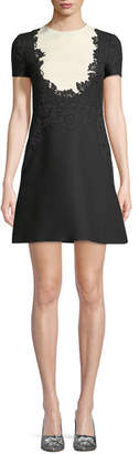 Valentino Short-Sleeve Crepe Couture Dress with Lace