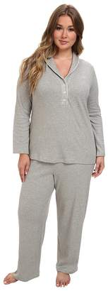 Lauren Ralph Lauren Plus Size Hartford Lounge PJ Set with Quilted Collar Women's Pajama Sets