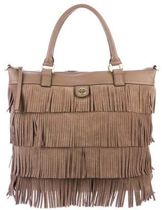 Tory Burch Leather & Suede Fringe Satchel