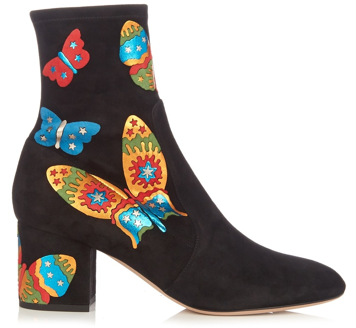 VALENTINO Butterfly-appliqué suede ankle boots