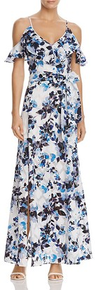 Eliza J Cold-Shoulder Flutter Sleeve Floral Maxi Dress $178 thestylecure.com
