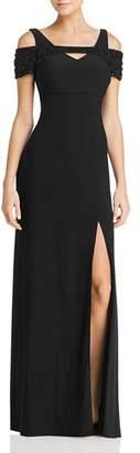 Aqua Embellished Cold-Shoulder Gown - 100% Exclusive