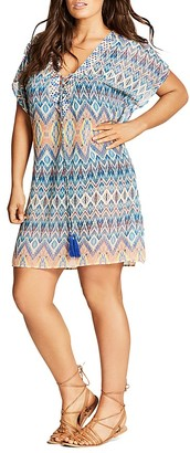 City Chic Printed Lace-Up Caftan $79 thestylecure.com